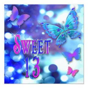 SWEET 13TH BIRTHDAY PARTY INVITTION - BUTTERFLY INVITATION