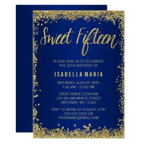 Sweet 15 Blue Gold Glitter Quinceanera Birthday Invitation