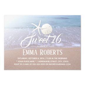 Sweet 16 Beach Theme Starfish & Sand Dollar Invitation