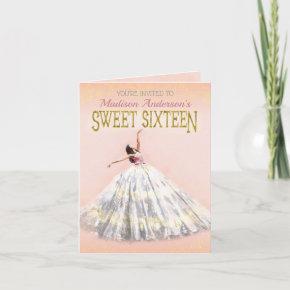 Sweet 16 Birthday Blush Pink Gold Watercolor Dress Invitation