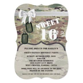 Sweet 16 Birthday Invite Army OCP Camo Uniform Cam