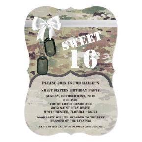 Sweet 16 Birthday Invite Army OCP Camo Uniform Cam