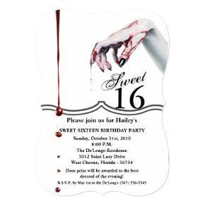 Sweet 16 Birthday Invite zombie blood drip vampire