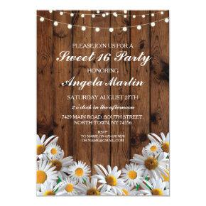 Sweet 16 Birthday Party Daisy Wood Lights Invite