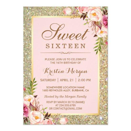 Sweet 16 Birthday | Pink Floral Gold Glitters Invitations