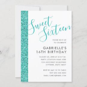 Sweet 16 Birthday Teal Blue Glitter Invitation