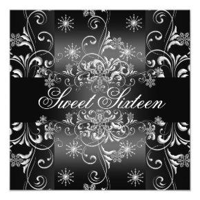 Sweet 16 Black & White Snowflake Birthday Invite