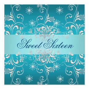 Sweet 16 Blue Snow Birthday Invite