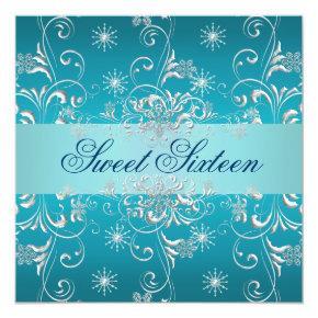 Sweet 16 Blue Snow Birthday Invite