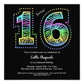 Sweet 16 Cool on Black Birthday Party Invitations