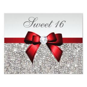 Sweet 16 Faux Silver Sequins Diamonds Red Bow Invitation