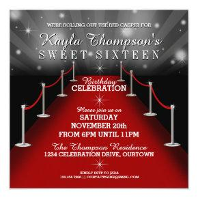 Sweet 16 Glamorous Red Carpet Party Invitations Candied Clouds