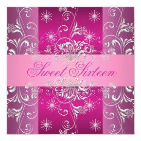 Sweet 16 Hot Pink/White Snowflake Birthday Invite