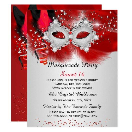 Sweet 16 Lace Mask Red Silver Masquerade Invitations Candied Clouds