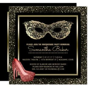 Sweet 16 Masquerade Ball | Pink Gold Sweet Sixteen Card