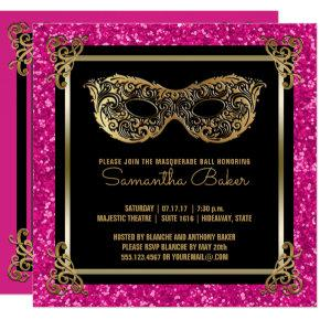 Sweet 16 Masquerade Ball Sweet Sixteen Pink Gold Card