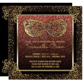 Sweet 16 Masquerade Party Pink Gold Sweet Sixteen Invitation