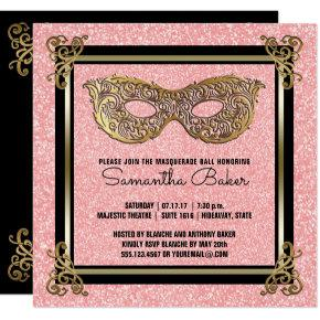 Sweet 16 Masquerade Party   Sweet Sixteen Birthday Invitation