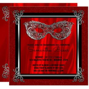 Sweet 16 Masquerade | Red Sweet Sixteen Birthday Invitation