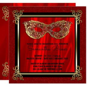Sweet 16 Masquerade | Red Sweet Sixteen Birthday Invitations