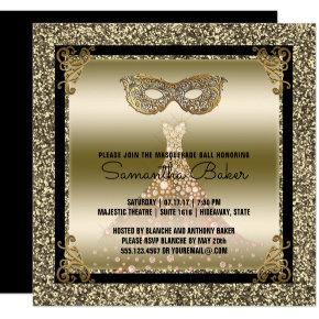 Sweet 16 Masquerade | Sweet Sixteen Black Gold Card