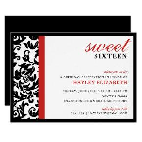 Sweet 16 Modern Damask with Border, Red Card