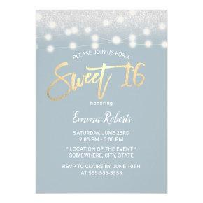 Sweet 16 Modern Dusty Blue Silver Glitter Invitation