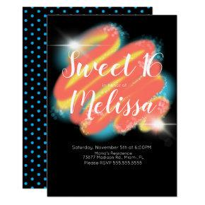 Sweet Sixteen Photo Birthday Invitations Candied Clouds
