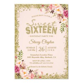 Sweet 16 Party - Blush Pink Gold Glitters Floral Invitations