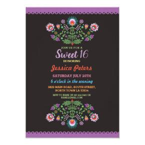 Sweet 16 Party Floral Fiesta Mexican Birthday Card