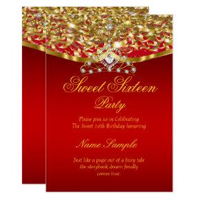 Sweet 16 Party Glitter Red Gold Invitations