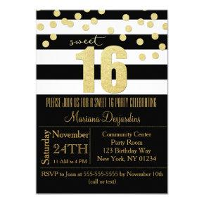 Sweet 16 Party Invitations Gold Black White