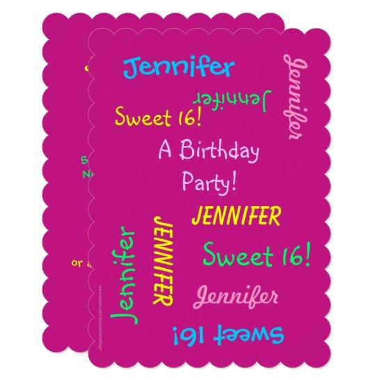 Sweet 16 Party Pink Invite Personalized Names Invitations