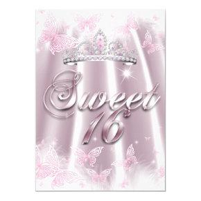 Sweet 16 Party Pink White Tiara Butterfly Silk Invitation