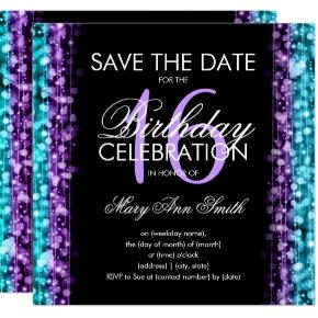 Sweet 16 Party Save The Date Sparkles Purple Teal Invitation
