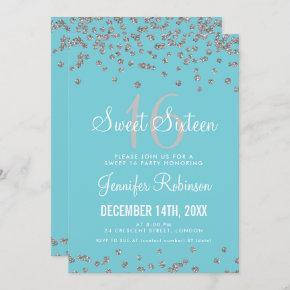 Sweet 16 Party Silver & Blue Glitter Confetti Invitation