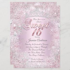 Sweet 16 Pink Silver Winter Wonderland Tiara Invitation