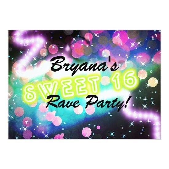 sweet 16 rave club neon birthday party invitations candied clouds
