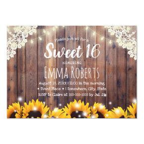Sweet 16 Rustic Sunflowers & String Lights Invitations