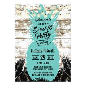 Sweet 16 Rustic Tropical Beach Teal Pineapple Invitation