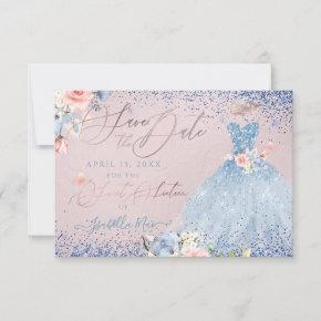 Sweet 16 Save the Date Dusty Blue Gown Invitation