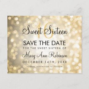 Sweet 16 Save The Date Gold Glitter Lights
