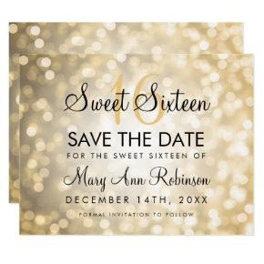 Sweet 16 Save The Date Gold Glitter Lights Card