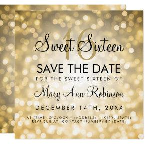 Sweet 16 Save The Date Gold Glitter Lights Invitation