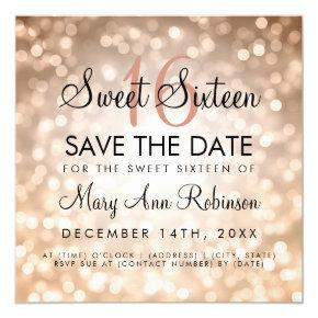 Sweet 16 Save The Date Rose Gold Glitter Lights Invitation