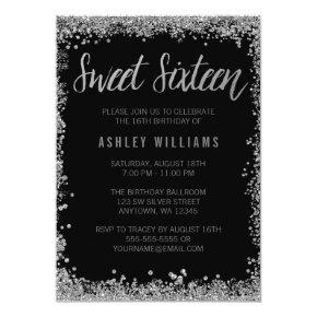 Elegant black silver stripe 21st birthday male invitations candied sweet 16 silver black faux glitter birthday invitations filmwisefo