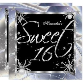 Sweet 16 Silver Spiders 16th Birthday Party Invitations