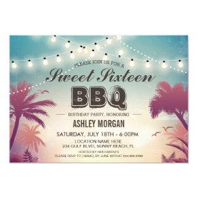 Sweet 16 Sixteen BBQ Party Summer String Lights Card