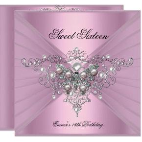 Sweet 16 Sixteen Birthday Party Pink Butterfly Invitations