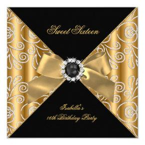 Sweet 16 Sixteen Black Bronze Gold Faux Diamond Invitations